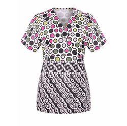 Trendy Fashion Print Medical V-Neck Scrub Top by MedPro in Sisters