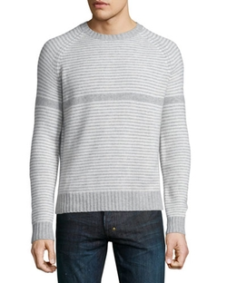 Striped Crewneck Sweater by Neiman Marcus in Black-ish