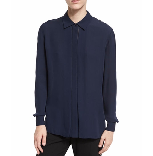 Long-Sleeve Silk Blouse by Vince in Suits