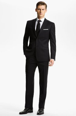 Trim Fit Wool Suit by Z Zegna in Black or White