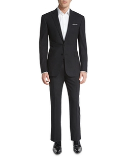 Anthony Solid Two-Piece Wool Suit by Ralph Lauren Black Label in The Good Wife