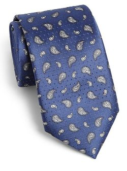 Small Paisley Silk Tie by Brioni in Black or White