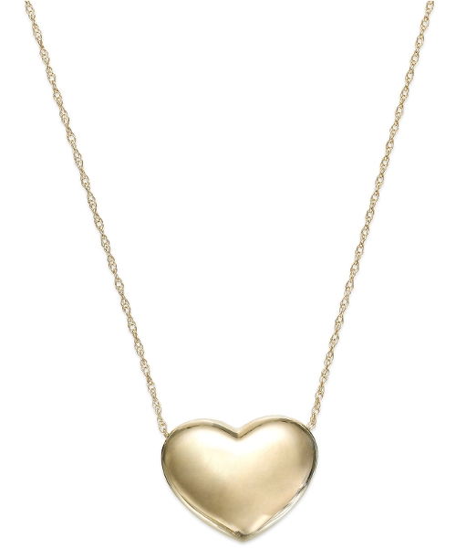 Puffed Heart Pendant Necklace by Signature Gold in Ted 2