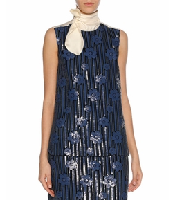 Sequined Flowerbed Tie-Neck Top by Marni in Will & Grace