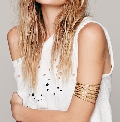 Women's Metallic Metal Upper Armband by Free People in Suicide Squad