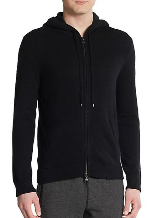Cashmere Zip-Front Hoodie by Vince in Barely Lethal