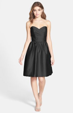 Strapless Satin Fit & Flare Dress by Alfred Sung in While We're Young