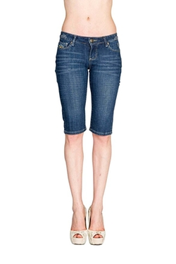Women's Slim Fit Stretch Denim Bermuda Shorts by Virgin Only in Sisters