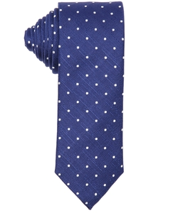 Navy Blue And White Polka Dot Silk Tie by Canali in The Good Wife