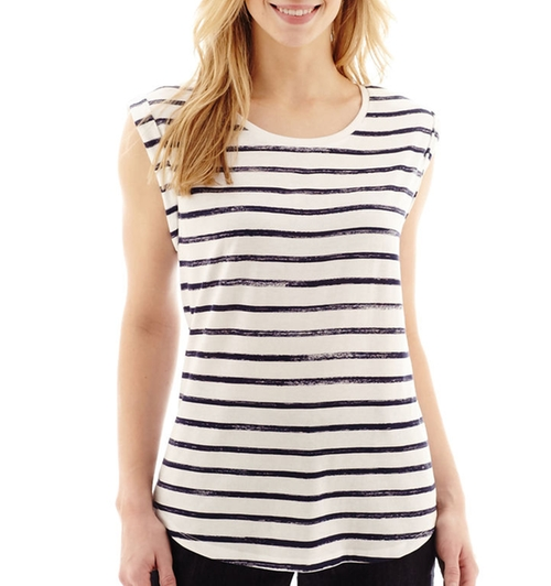 Short-Sleeve Striped T-Shirt by Liz Claiborne in Blended
