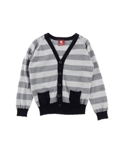 Striped Cardigan Sweater by Caporea in Black-ish