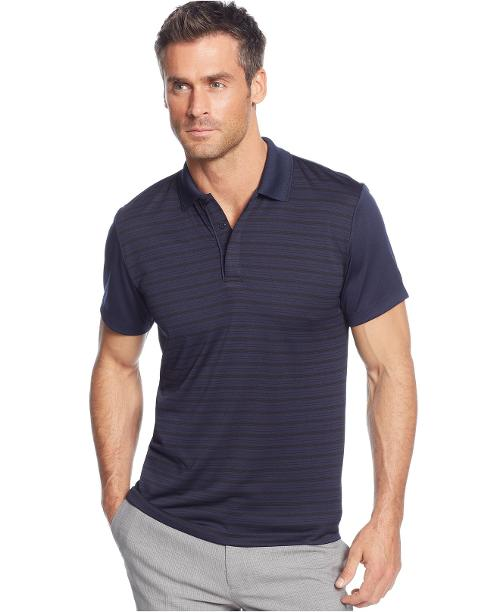 Tipped-Collar Striped-Front Performance Polo Shirt by Alfani in Project Almanac
