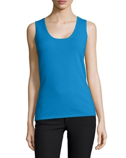 Scoop-Neck Cashmere Tank Top by Neiman Marcus in Rosewood
