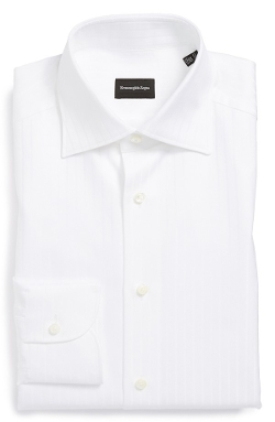 Regular Fit Solid Dress Shirt by Ermenegildo Zegna in Spy