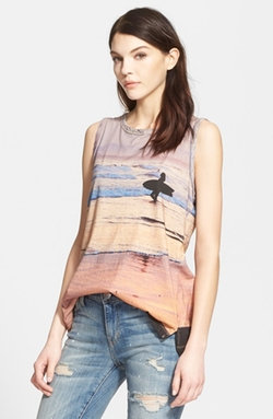 'The Muscle Tee' Surf Print Tank Top by Current/Elliott in Pretty Little Liars