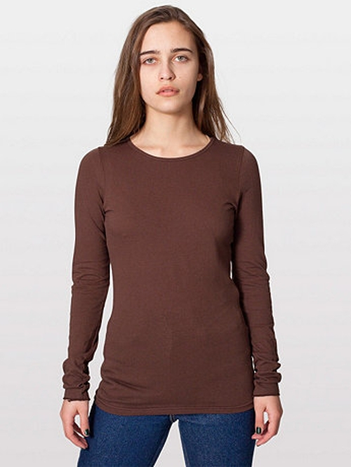 Sheer Jersey Long Sleeve T Shirt by American Apparel in Barely Lethal