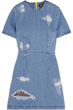 Distressed Denim Mini Dress by House of Holland in Scream Queens