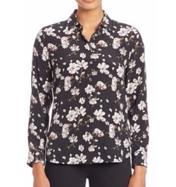 Leema Silk Floral-Print Shirt by Equipment in Quantico