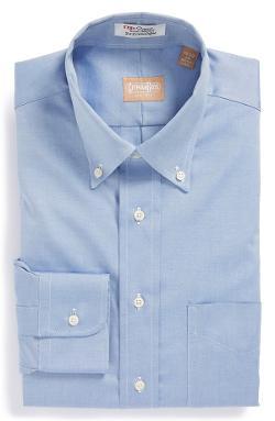 Regular Fit Pinpoint Cotton Oxford Button Down Dress Shirt by Gitman in Laggies
