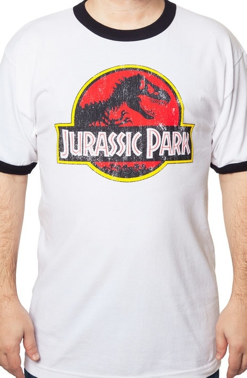Jurassic Park Ringer T-Shirt by 80sTees.com in Jurassic World