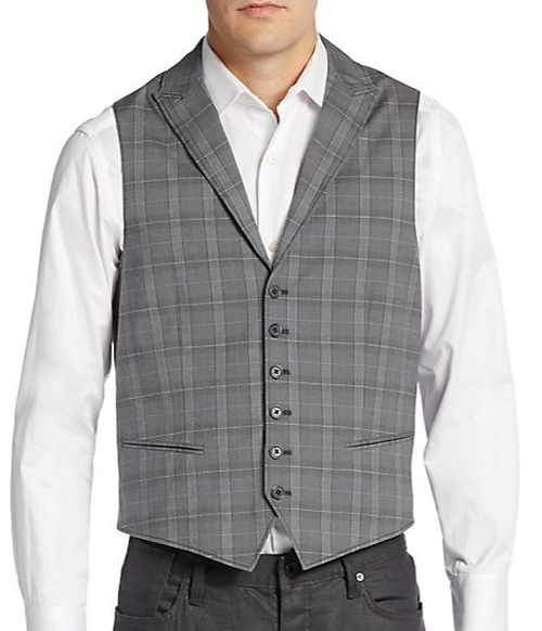 Plaid Peaked Lapel Vest by John Varvatos in The Blacklist - Season 3 Episode 5
