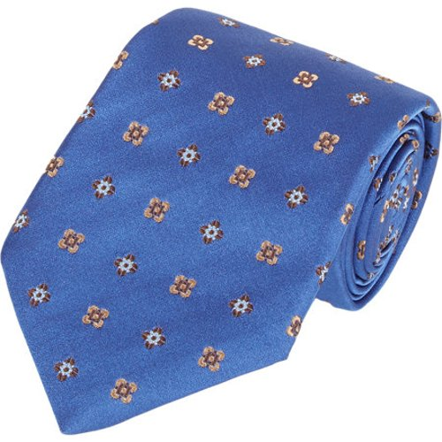 Medallion & Floral-Pattern Neck Tie by Isaia in Black or White