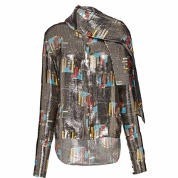 Silk Lurex Scarf Shirt by J.W. Anderson in Empire