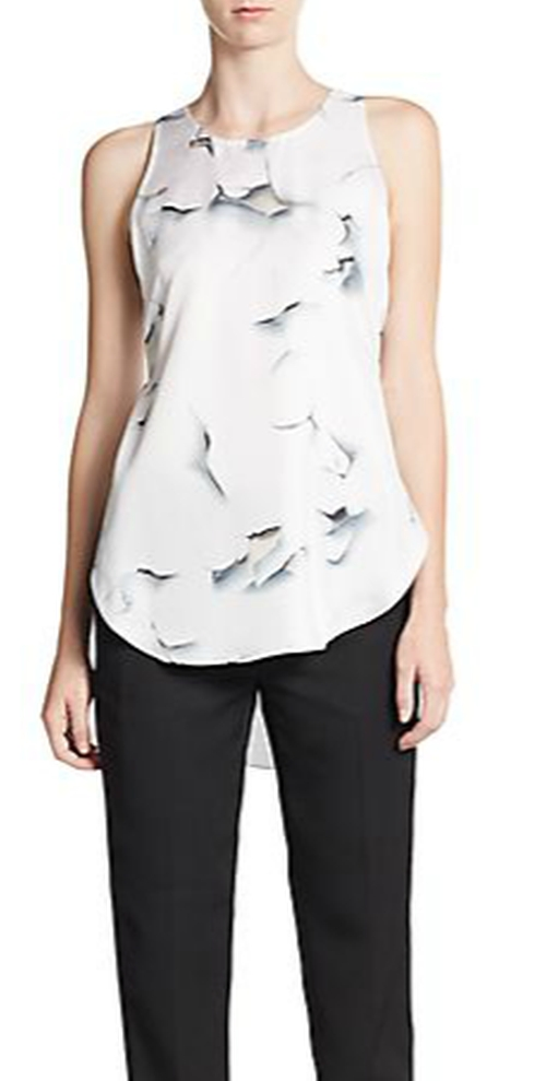 Silk Cracked-Paint Hi-Lo Top by 3.1 Phillip Lim in The Vampire Diaries