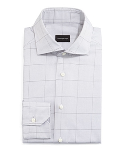 Windowpane Long-Sleeve Dress Shirt by Ermenegildo Zegna	 in The Wolf of Wall Street