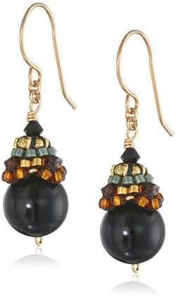 Onyx and Gold Filled Ball Drop Earrings by Miguel Ases in Secret in Their Eyes