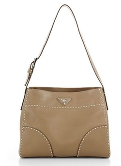 City Calf Topstitched Hobo Bag by Prada in Ballers