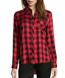 Plaid Flannel Button Front Shirt by Wyatt in Chelsea