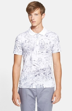Sketch Print Polo Shirt by PS Paul Smith in Everest