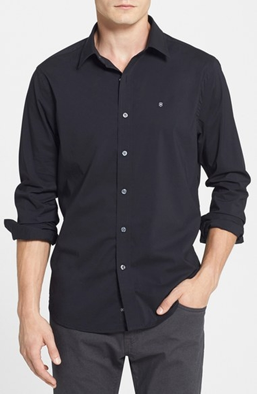 Tailored Fit Stretch Poplin Sport Shirt by Victorinox Swiss Army in Birdman