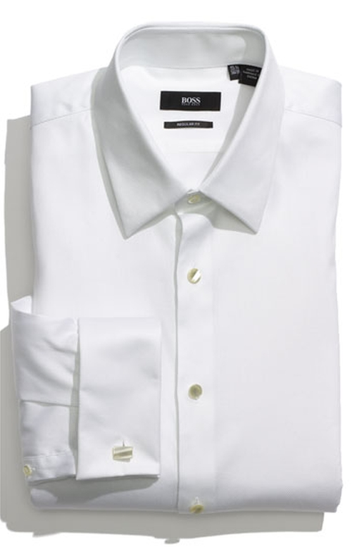'Emmery' US Regular Fit French Cuff Tuxedo Shirt by Boss in Suits - Season 5 Episode 5