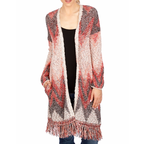Fringed Chevron Cardigan by Lucky Brand in New Girl - Season 6 Episode 3