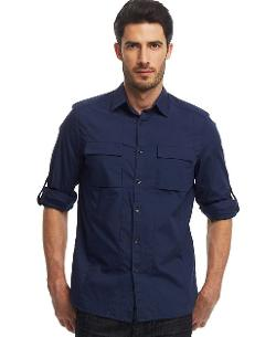 Reaction Novelty Roll-Tab Sleeve Shirt by Kenneth Cole in Let's Be Cops