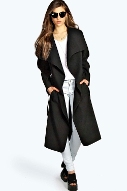 Kate Belted Shawl Collar Coat by Boohoo in Pan