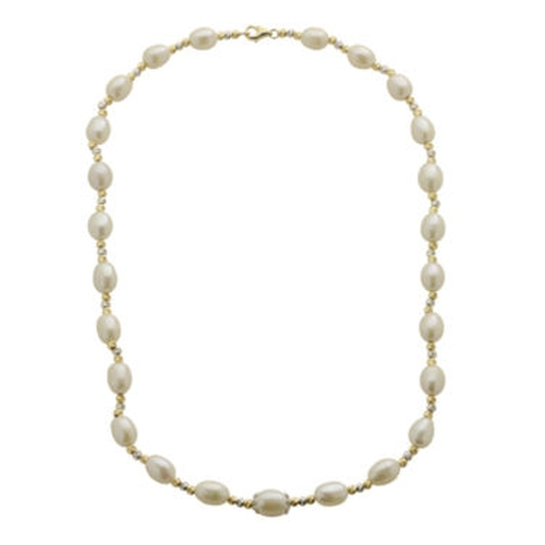 Cultured Freshwater Rice Pearl Bead Necklace by Brilliance in Atonement