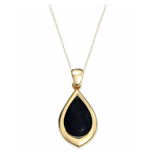 Onyx Teardrop Pendant Necklace by Signature Gold in How To Get Away With Murder - Season 3 Episode 1