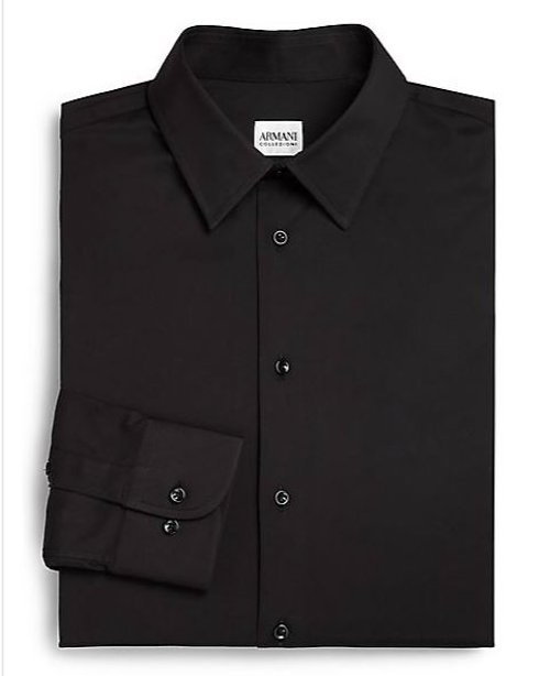 Solid Cotton Dress Shirt by Armani Collezioni in Taken 3