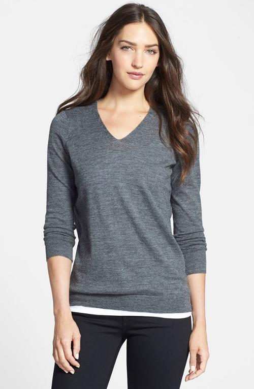 Open Back Alpaca V-Neck Sweater by Eileen Fisher in Couple's Retreat