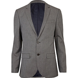 Grey Slim Suit Jacket by River Island in She's Funny That Way