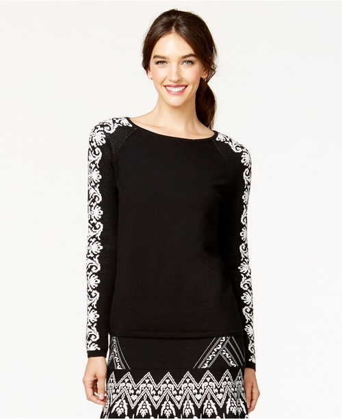 Long-Sleeve Printed Jacquard Sweater by CeCe by Cynthia Steffe in American Horror Story