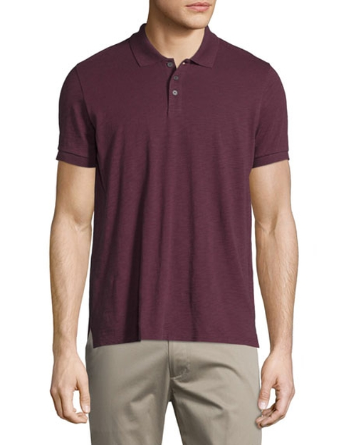 Short-Sleeve Slub Polo Shirt by Vince in Gold