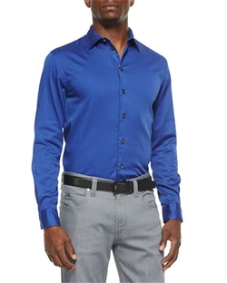 Solid Stretch-Poplin Sport Shirt by Armani Collezioni in Empire