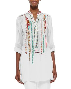 Leanna Embroidered Georgette Tunic by Johnny Was Collection in While We're Young