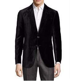R-Line Textured Velvet Two-Button Sport Coat by Armani Collezioni in Empire