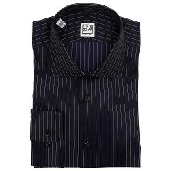 Men's Black Stripe Barrel Cuff Cotton Dress Shirt by Ike Behar in Brick Mansions