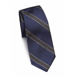 Woven Striped Rib-Knit Silk Tie by Theory in Designated Survivor